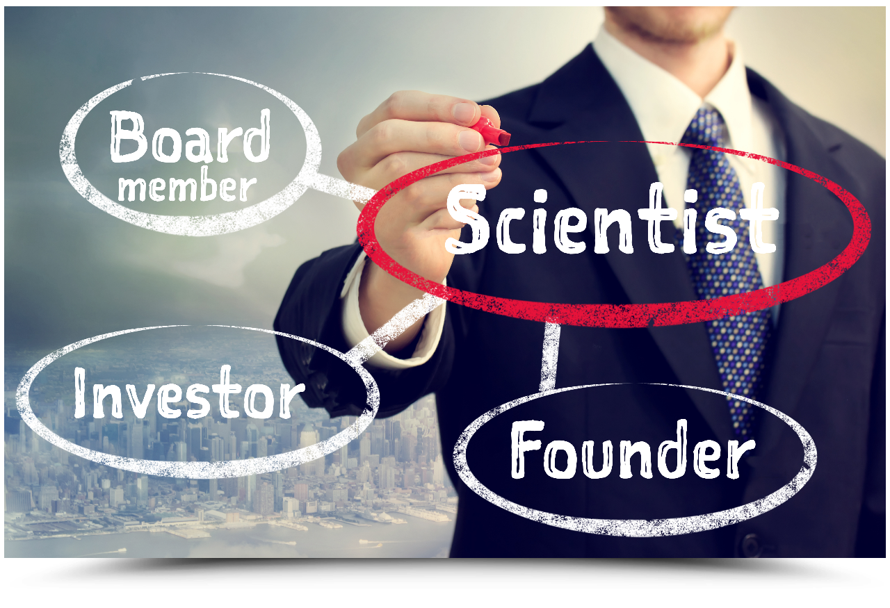 Diagram, highlighting term Scientist, along with Board Member, investor, founder